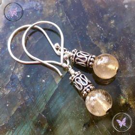 Golden Rutilated Quartz Silver Earrings